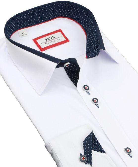 255a2fb461a7 Pánska košeľa Beva Klasik Pánska bielo- modrá košeľa 2K314 ...