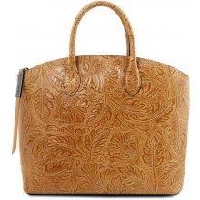 Tuscany luxusná kabelka GAIA hnedej farby s potlačou d70dad988de