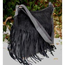 275463d848 kabelka crossbody strapcová- semišové strapce čierna antracit ...