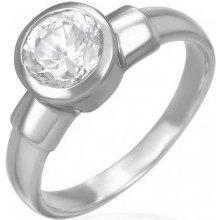 Šperky eshop Oceľový snubný prsteň s veľkým zirkónovým očkom v kovovej  objímke F5.12 1fb2ee2fa3e