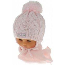 569516a4b Zimná pletená čiapočka s šálom Baby Bear ružová s brmbolcami ...