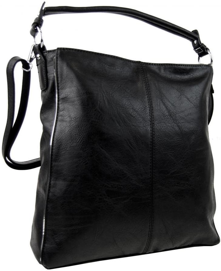 moderná dámska kombinovaná kabelka so striebornou linkou 3067-DE čierna c9f85070206