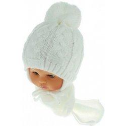 2bce1a842 Zimná pletená čiapočka s šálom Baby Bear biela s brmbolcami ...