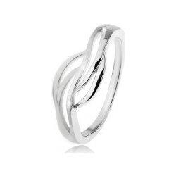 9f7f0d738 Šperky eshop Prsteň zo striebra 925 s rozdelenými ramenami lesklé a matné  vlnky M13.11