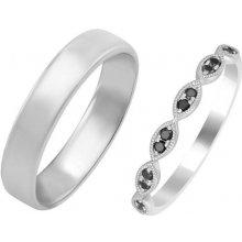 47709209c Eppi Zlatý eternity prsteň s čiernymi diamantmi a pánsky komfortný prsteň  Darcon RW224423