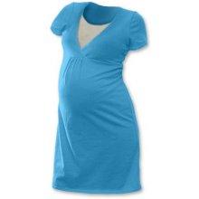 Johanka tehotenská, dojčiaca nočná košeľa kr. rukáv tyrkys