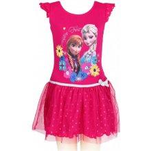 Setino Dievčenské letné šaty Ľadové kráľovstvo Frozen tm. ružové