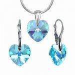 Set strieborný Modré Srdce so Swarovski Elements LSW061S