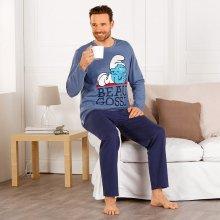 Blancheporte Šmoulové pánské pyžamo dlouhé