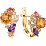 iZlato Design zlaté náušnice s drahými kameňmi a diamantmi IZBR621N ac71a420e23