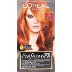 Loréal Feria Preference žiarivá intenzívna farba žiarivé odlesky ochranná starostlivosť pre vysoký lesk Intenzívne medená č. P 74