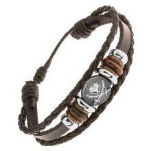 Šperky eshop Multináramok z kože a šnúrok korálky z ocele a dreva, lebka s mečmi Y47.03