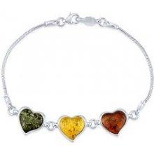 silvego strieborný náramok s prírodným jantárom v tvare srdca AAJB7U94 9af3461c839