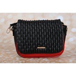 Pabia kabelka malá čierno/červená ekokoža