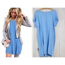 c03c5e57b9c0 Fashionweek Nádherné módne letné ľanové-bavlnené šaty BOHO ITALY OVERSIZE  MD9   785 Modrá