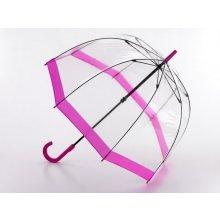 Fulton Dámský průhledný holový deštník Birdcage 1 Pink L041-6