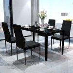 vidaXL Čierna jedálenská sada stola so 4 stoličkami