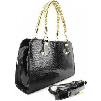 Nádherná lakovaná kabelka Extravagance Crocodile čierna ...