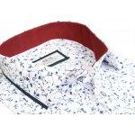 64ca2ae6324f Biela košeľa s modrým motívom BEVA KLASIK dlhý rukáv