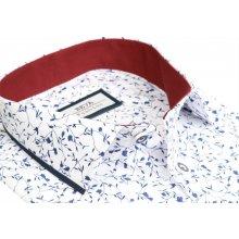 7ceca4161445 Biela košeľa s modrým motívom BEVA KLASIK dlhý rukáv