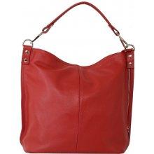 7714b342d2 Talianska veľká kožená kabelka na plece vrecovitá červená Ludmila