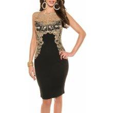 Dámske spoločenské šaty KouCla bez rukávov zlatá čipka - čierna 1e2d3aa34d4