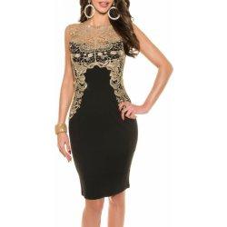 083c4fcd73e0 Dámske spoločenské šaty KouCla bez rukávov zlatá čipka - čierna od ...