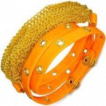 6b7010b8a Šperky eshop náramok z umelej kože retiazky zlatej neónovo oranžový  vybíjaný pás AB1.08