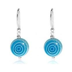 32788a56e Šperky eshop strieborné náušnice modro-biele guličky obrysy kruhov, SP74.04