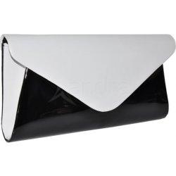 listová spoločenská kabelka lak čierno- biela alternatívy - Heureka.sk 15f74711f60
