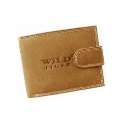 c1648800e Wild Tiger slabo hnedá so zapínaním Brúsená pánska kožená peňaženka ...