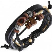 631fe40b1 Šperky eshop kožený náramok so šnúrkami a drevenými korálkami S13.03
