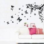 Walplus Samolepka na stenu Vínna réva a motýle, 100x80 cm