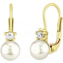 Silvego zlaté náušnice s pravou perlou SILVEGOB35037