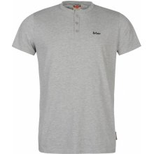 Lee Cooper Essential Three Button T Shirt Mens Grey Marl