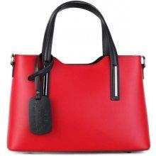 f31b5fa296 talianske kožené kabelky luxusné na rameno Carina červené s čiernou