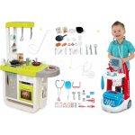 Smoby Set kuchynka elektronická Cherry so zvukmi+lekársky vozík s modrým kufríkom 310908-4
