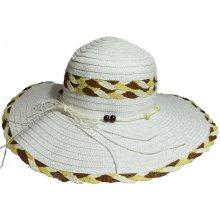 955bc4f05 Jenifer SK-1423WK Dámsky slamený klobúk s mašľou a korálkami biely