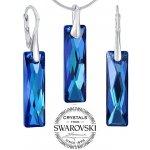 Silvego strieborný set šperkov sa Swarovski Crystals Queen Baguette Bermuda Blue LSW184S