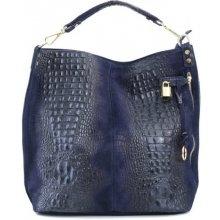 b565c6373 XL Talianska shopperka kožená kabelka veľká na plece Valika tmavomodrá