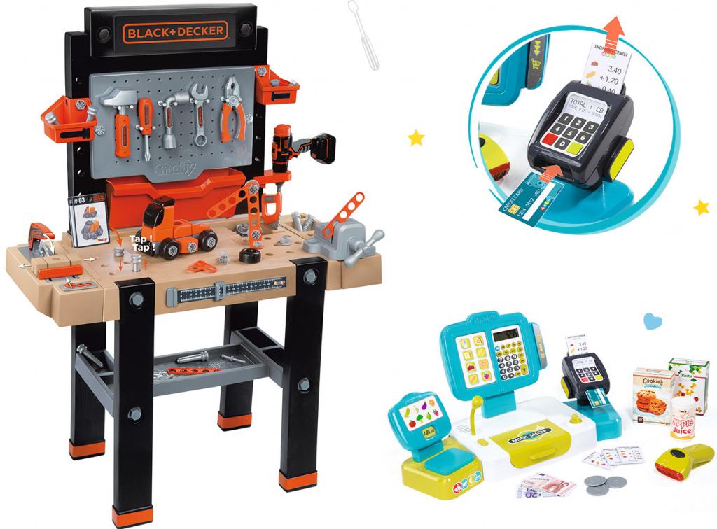 fc847e6e460bd Smoby set detská pracovná dielňa Black and Decker elektronická pokladňa  Mini Shop s váhou a čítačkou