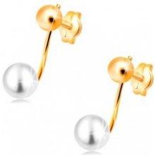 2da5b3158 Šperky eshop náušnice v žltom zlate lesklá gulička a biela perla na paličke  GG33.30