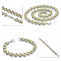 bfdba44e1 Šperky eshop sada z chiurgickej ocele náhrdelník s náramkom dvojfarebné  články grécky kľúč Z45.10