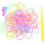 Farebné gumičky k dúhovým náramkom 100 ks + doplnky