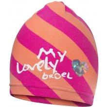 Broel dievčenská pruhovaná čiapka ružovo-oranžové