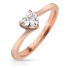 e0d807f5d Šperky eshop Lesklý oceľový prsteň medenej farby číre zirkónové srdiečko  HH16.14