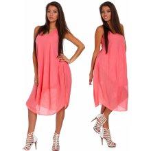 fd1716f0df32 Nádherné módne letné bavlnené šaty BOHO ITALY TC665 Koralový