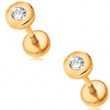 Šperky eshop Zlaté náušnice lesklý kruh so vsadeným brúseným zirkónom čírej farby GG188.14