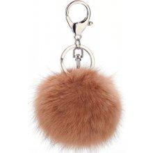 Prívesok na kľúče a kabelku Béžový chlpatý, Pom Pom