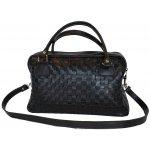 Nádherná pletená kožená kabelka 8558 v čiernej a646df3c227